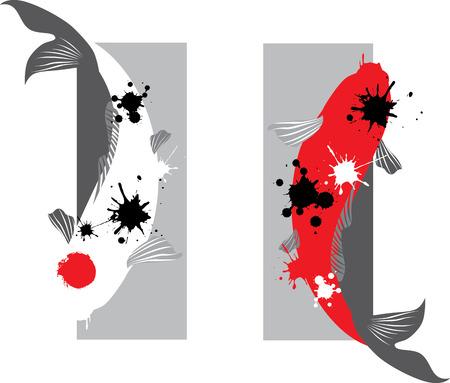 Artistieke vector illustratie van koikarpers paar in water
