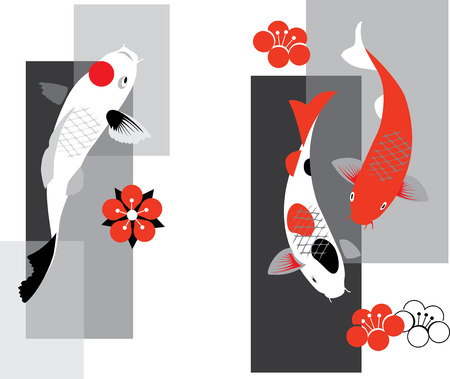 Artistic vector illustration of koi carps  in three colors Çizim