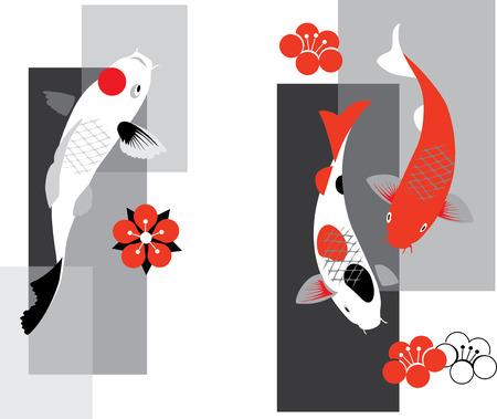 pez carpa: Ilustración artística del vector de koi carpas en tres colores
