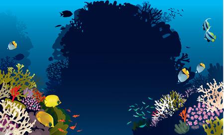 Vector illustration of beautiful banner fish in nature Ilustracja