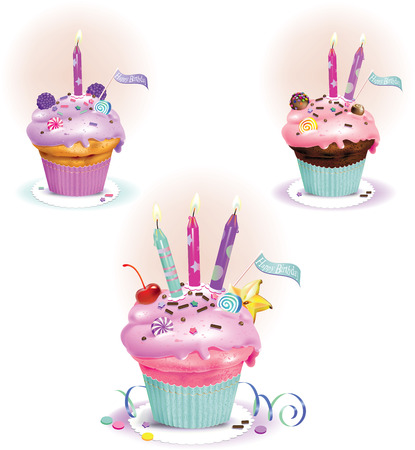 Vector illustration of Birthday muffins with candles
