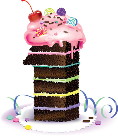 Vector illustration of a cake in shape of number one