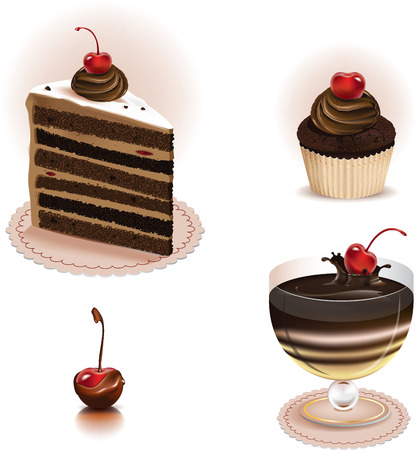 Vector illustration of four kinds of chocolate sweets Ilustracja
