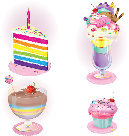 Vector illustration of desserts of four different kinds Ilustracja