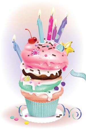 illustratie van de verjaardag muffins met kaarsen Stock Illustratie