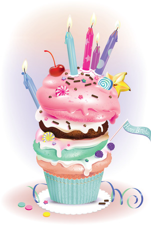 illustration of Birthday muffins with candles