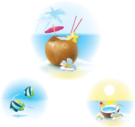 illustration of coconut cocktail on a beach