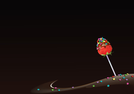 illustration of strawberry on a stick, decorated with small candies and on chocolate background Ilustracja