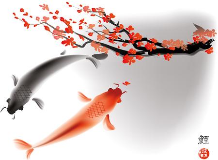 Artistica illustrazione vettoriale di carpe koi coppia in acqua