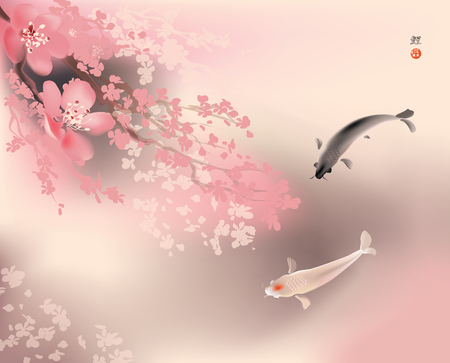 Vector illustration of sacred Koi carps and spring sacura blooming