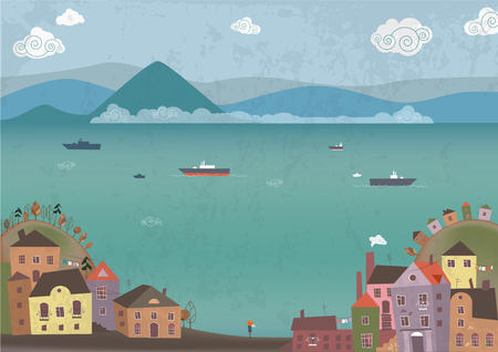 Vector illustration of town on sea shore and dreaming girl on beach Illustration