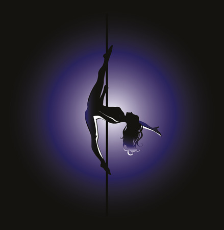 flexible woman: Vector illustration of pole dancer silhouette in position called Kim Illustration