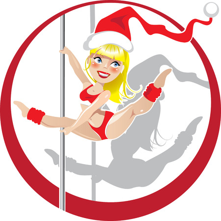 Vector illustration of Christmas pole dancer in Santas hat