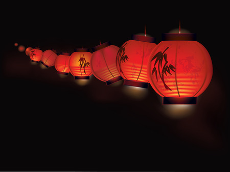 Vector illustration of red Chinese paper lanterns arranged as garland