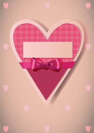 심장 모양의 빨간색 묶인 된 활 카드