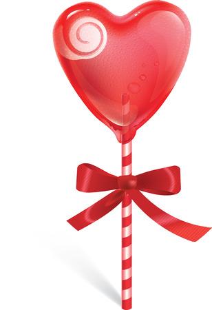 달콤한 심장 모양 막대 사탕에 빨간 활과 막대 사탕