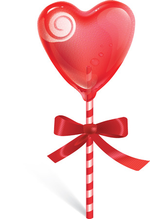 sweet heart: Sweet heart shaped lollipop on stripy stick with red bow