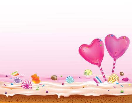 달콤한 하트 막대 사탕 케이크에 서있는 흩어져있는 과자로 장식