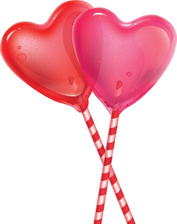 두 달콤한 심장 롤리팝 화이트 절연 모양의 일러스트