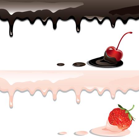 요구르트 줄무늬와 딸기의 벡터 일러스트