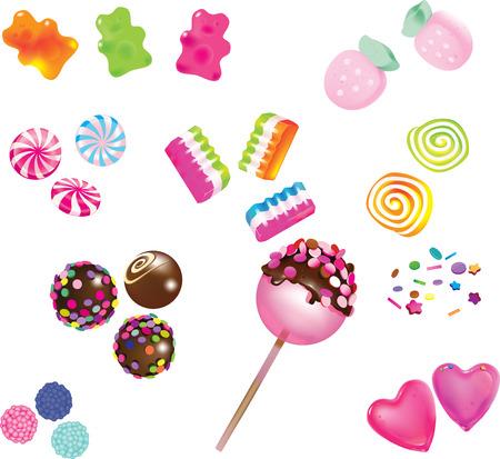 Verschiedene Streu süße Süßigkeiten auf weißem Hintergrund isoliert