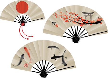 Illustrazione vettoriale di tre ventole tradizionali giapponesi. Geroglifico significa primavera.