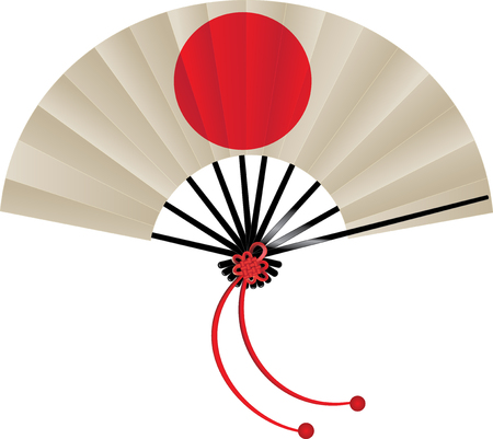 Vector illustration of Japanese flag fan with tie