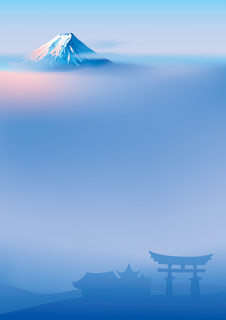 Vectorillustratie van heilige Japanse Torii-poorten en Fuji-berg Fuji en torii
