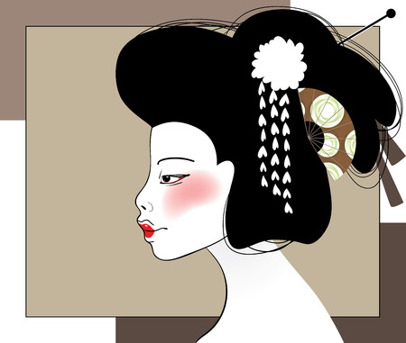 Vector illustration of artistic side view of Japanese traditional geisha