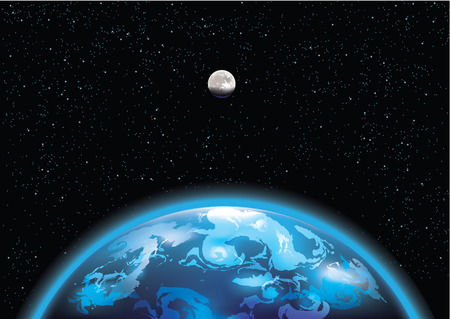 Vector illustration of Earth and moon in space Ilustracja