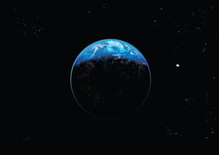 공간 벡터 지구 그림과 달