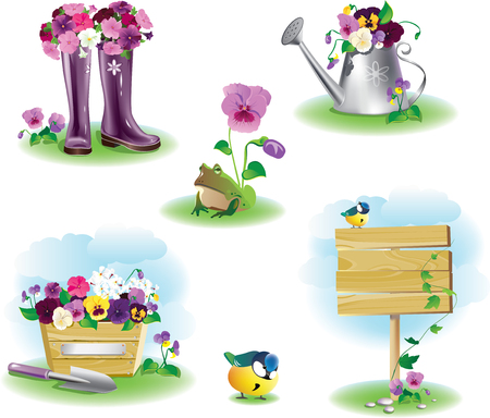 rural wooden bucket: illustration of different garden objects set Illustration