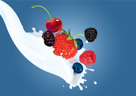 illustration of mix of berries in cream splash Ilustracja