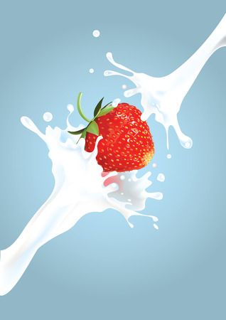 illustration of strawberry in cream splash Ilustracja