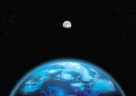 공간에서 지구 그림과 달