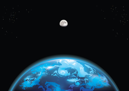illustration of Earth and moon in space