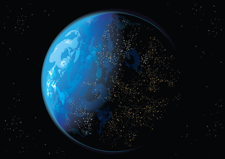 planetarium: illustration of Earth and stars in space Illustration