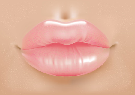 perfect skin: Vector illustration of pink shiny sexy lips