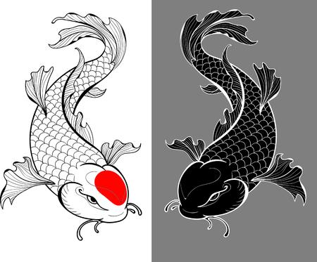 Artistieke illustratie van koikarpers in tattoo stijl