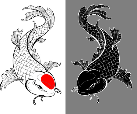 Artistic illustration of koi carps in tattoo style