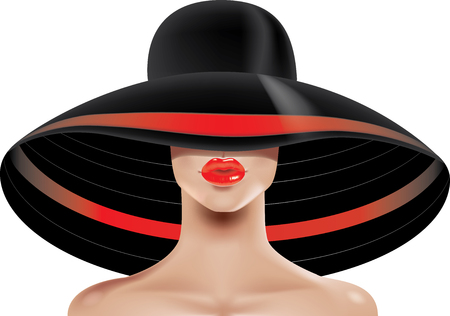 topless women: illustration of womans face in hat