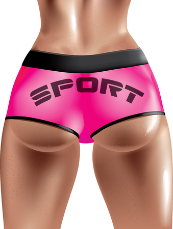 Vector illustration of sporty sexy womans butt
