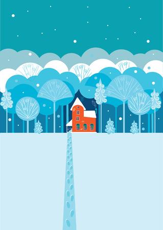 숲에 겨울 집
