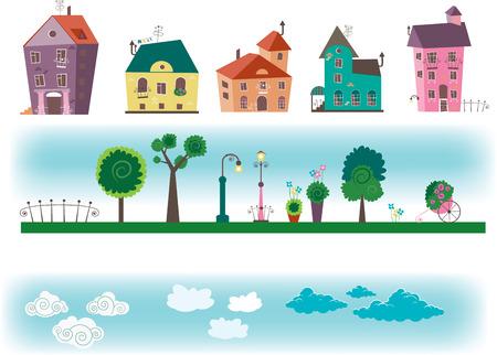 Kleine steden huizen Stockfoto