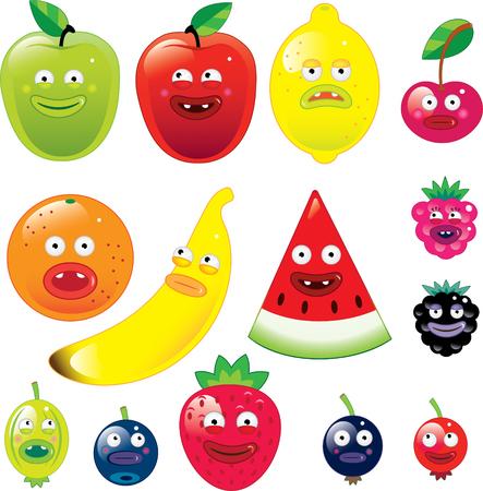 Vruchten met grappige gezichten Stock Illustratie