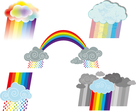 A Vector illustration of several optional rainbows and clouds illustration.