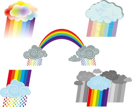Een vector illustratie van verschillende optionele regenbogen en wolken illustratie.