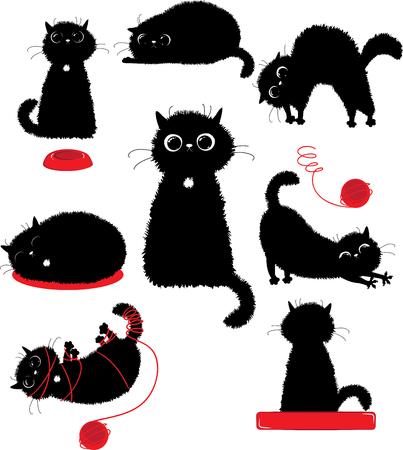 Black kitty playing Ilustracja