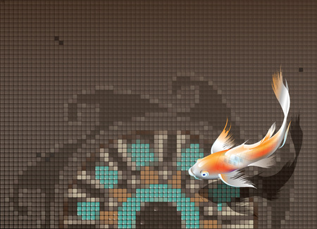 Vector illustration of koi carp swimming in pool