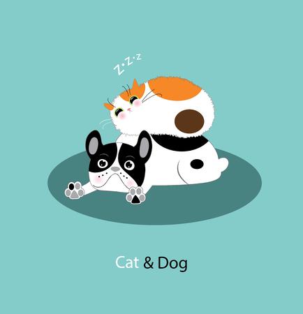 Gracioso perro y gato Ilustración de vector